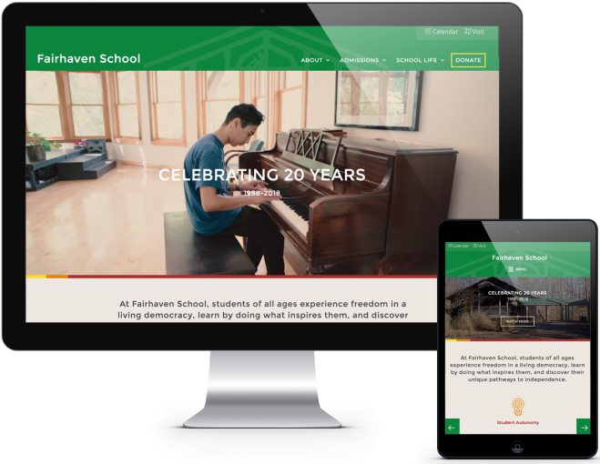 Screenshot of Fairhaven School Webite