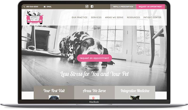 Veterinarian website design on laptop